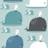 Seamless pattern with whale and gull. Childish texture for fabric, textile,apparel. Vector background - 207447006