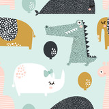 Seamless pattern with rhinoceros, elephant, crocodile, whale. Creative bay animals background. Perfect for kids apparel,fabric, textile, nursery decoration,wrapping paper.Vector Illustration - 207447014