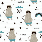 Seamless pattern with hand drawn bear hero,rainbow, clouds. Creative childish texture in scandinavian style. Great for fabric, textile Vector Illustration - 207447030