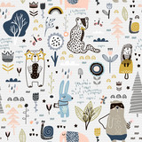Seamless childish pattern with fairy flowers, bear,bunny, leopard, hedgehog.. Creative kids city texture for fabric, wrapping, textile, wallpaper, apparel. Vector illustration - 207447052