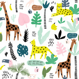 Seamless pattern with giraffe, leopard,tucan, monkey and tropical elements. Creative jungle childish texture. Great for fabric, textile Vector Illustration - 207447080