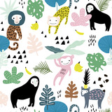 Seamless pattern with lemur, orangutan, monkey and tropical elements. Creative jungle childish texture. Great for fabric, textile Vector Illustration - 207447090