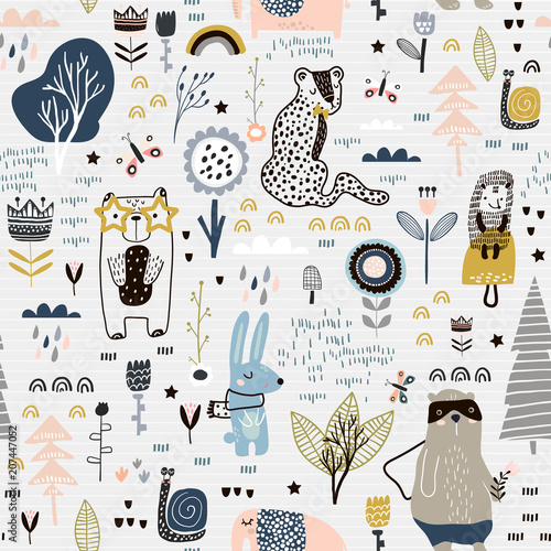 Tapeta Seamless childish pattern with fairy flowers, bear,bunny, leopard, hedgehog.. Creative kids city texture for fabric, wrapping, textile, wallpaper, apparel. Vector illustration