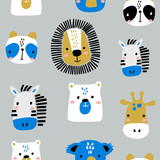 Seamless childish pattern with funny animals faces . Creative scandinavian kids texture for fabric, wrapping, textile, wallpaper, apparel. Vector illustration - 207447205