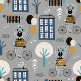Seamless childish pattern with cute bears bicycling in the city. Creative kids texture for fabric, wrapping, textile, wallpaper, apparel. Vector illustration - 207447224