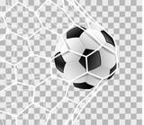 Fußball im Tor Netz isoliert transparenter Hintergrund - 207453419