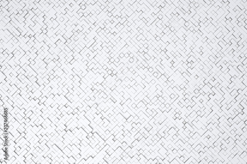 Abstract diagonal white or gray 3d geometric small cube or box shape tiles background or pattern design.