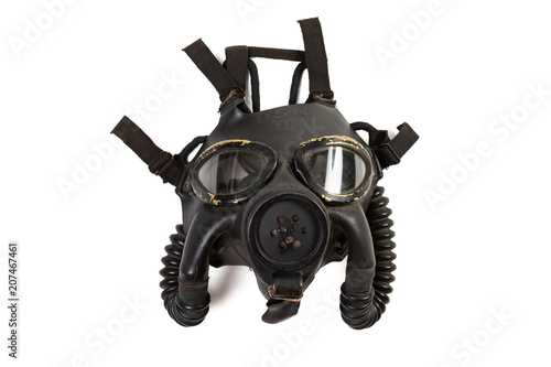 Vintage WWII US Navy MK4 gas mask isolated on a white background