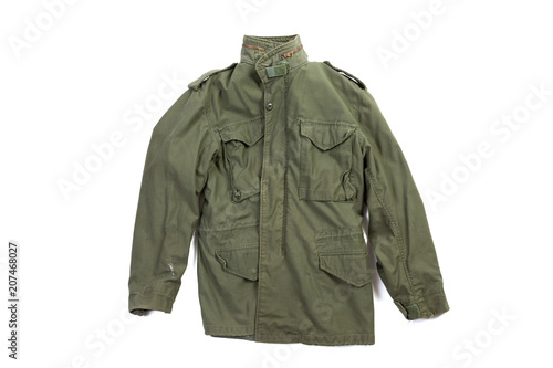 Vintage US Marine Corps Vietnam era jacket from the Hotel Company, 2nd Battalion, 25th Marines isolated on white