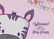 Baby shower invitation card with cute zebra icon and decorative pennants over purple background, colorful design. vector illustration