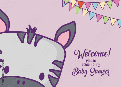Baby shower invitation card with cute zebra icon and decorative pennants over purple background, colorful design. vector illustration - 207475492