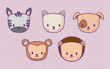 icon set of cute animals over purple background, colorful design. vector illustration