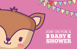 Baby shower invitation card with cute deer icon and decorative pennants over pink background, colorful design. vector illustration