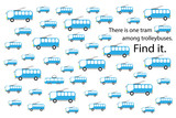 Find tram among trolleybuses, fun education puzzle game with transport for children, preschool worksheet activity for kids, task for the development of logical thinking and mind, vector illustration