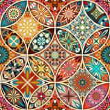 Fototapety Seamless pattern with decorative mandalas. Vintage mandala elements.