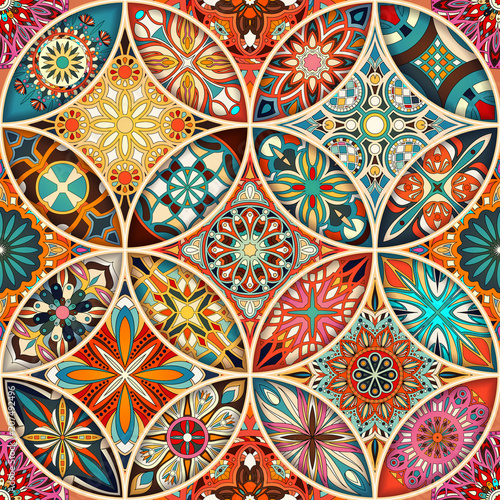 Seamless pattern with decorative mandalas. Vintage mandala elements. - 207492496