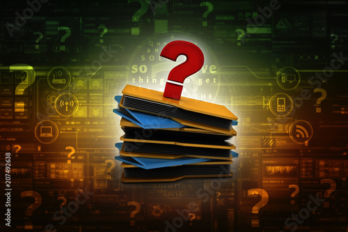 3d rendering file folder with question symbol