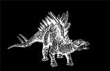 Graphical dinosaur running and roaring isolated on black,vector Velociraptor illustration,tattoo