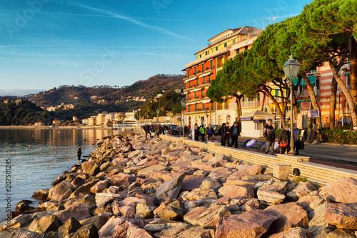 Aluminium Liguria Sea coast and embankment in Lerici, Liguria, Italy. Snenic cityscape at sunset.