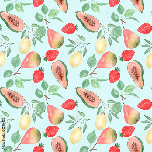 Seamless abstract fruit pattern.Lemon, pear, strawberry, papaya on a light blue background. - 207501470