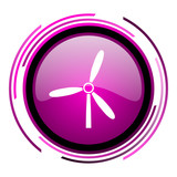 Windmill pink glossy web icon isolated on white background - 207508284