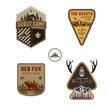 Travel badge, outdoor activity logo collection. Scout camp emblem set. Vintage hand drawn travel badge design. Stock illustration, insignias, rustic patches. Isolated on white background