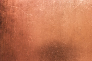 Vintage bronze or copper plate, non-ferrous metal sheet as background