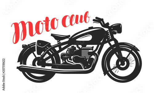 Motorcycle, motorbike silhouette. Moto club logo or label. Vector illustration