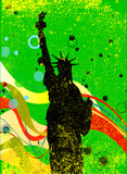 Statue Of Libertyy Jazz Style Background Poster - 207522855