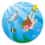 Snorkeling woman and sea life - circular clip art - 207522864