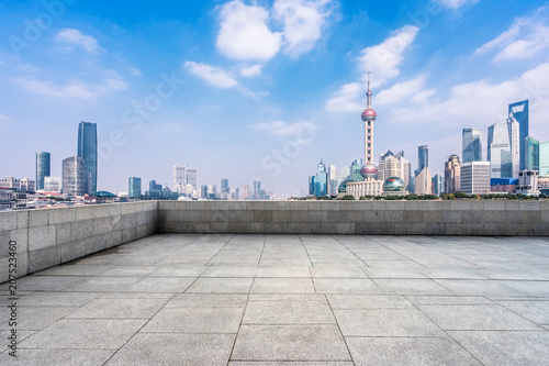 Fotobehang Shanghai empty square with modern office building