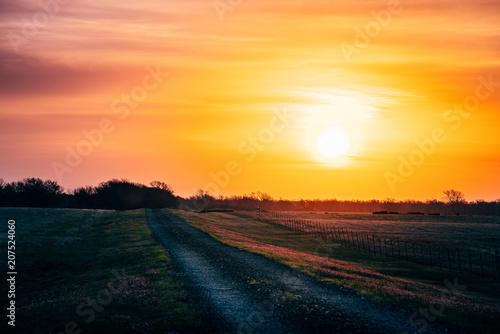 Fotobehang Oranje Old Road At Sunrise