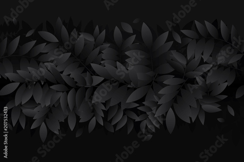 black leaf background. Vector illustration - 207532433