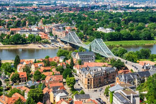 Fotobehang Bruggen Blick über die Elbe auf Dresden
