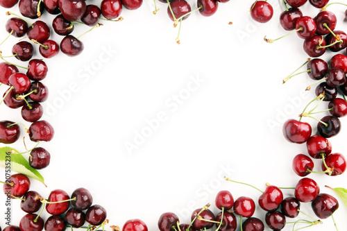 Fotobehang Kersen Cherry. Red fresh bunch of cherries on the table