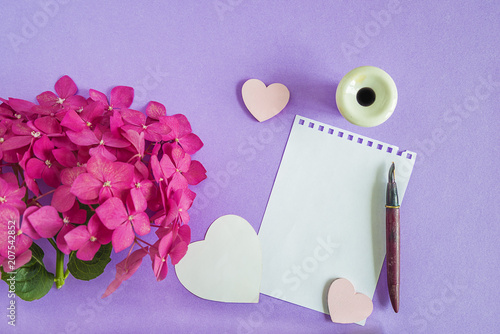 Purple hydrangea flower head, paper and old pen with inkwell