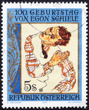 Paintig by Egon Schiele on austrian postage stamp - 207544086