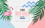 Abstract Summer Sale Background with Palm Leaves and Flamingo. Vector Illustration - 207560242