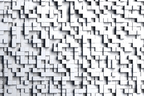 Abstract gray or black and white 3d geometric cube or box shape tiles background or pattern design in bright light.