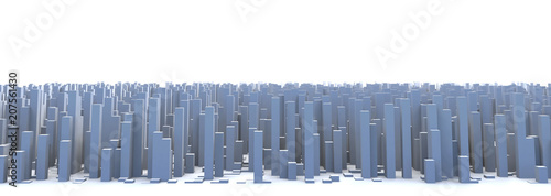 Abstract and generic 3d simple city blocks buildings skyscrapers skyline landscape. - 207561430