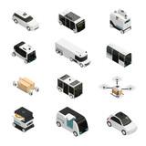 Fototapety Autonomous Vehicles Isometric Icons