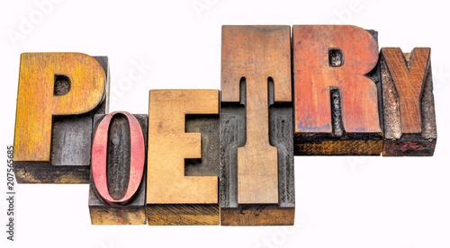 Foto Murales poetry word abstract in wood type