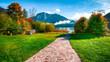 Leinwanddruck Bild - Sunny morning on the lake Altausseer See Alps Austria Europe