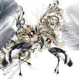 Elegant illustration with birds and swirls - 207568413