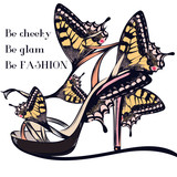 Fashion vector illustration with stylish female sandal or shoe decorated by butterflies - 207568660