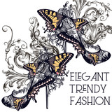 Fashion vector set with stylish female  shoes decorated by butterflies and swirls - 207569486