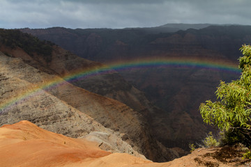 Rainy at the Waimea Canyon - looking down at a rainbow!