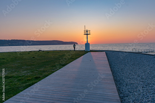 Fotobehang Zee zonsondergang Sunset at the coast