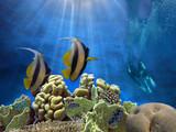 Marine life design template beautiful coral reef - 207587473