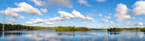 forest lake and sky with clouds - 207593634